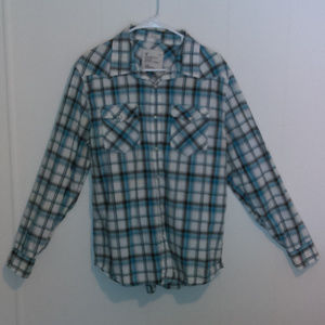 AEO Vintage fit Plaid Long Sleeve w Pearl Buttons